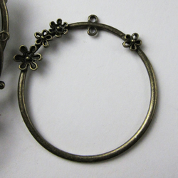 18 Bronze Plated Hoop Charms Flower Detail Inner loop For Other Charm