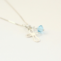 Cross and Birthstone Necklace Baptism Christening Gift