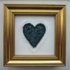 VALENTINE HEART ART picture in dark turquoise fiber fabric with beaded edge