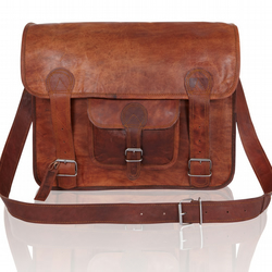 Leather Satchel Messenger Bag - Handmade with a Vintage look