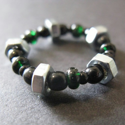 Chunky Green and Black Glass Bead and Steel Nut Ring