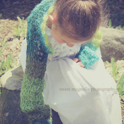 Shimmering Green Crochet Shrug Age 5 to 12