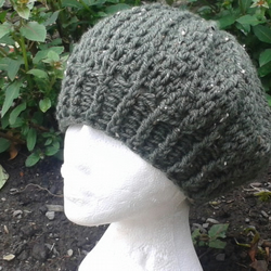 Rustic Green Flecks Beret Style Slouch Hat