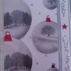 Christmas Card - Snow Scene Baubles
