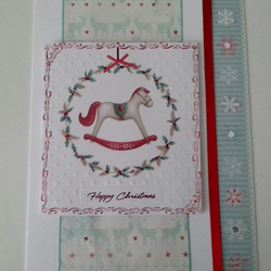 Nordic Reindeer and Rocking Horse - Large Christmas card