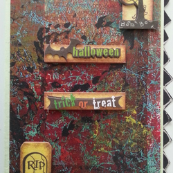 Gory Background  and Tombstone - Halloween Card
