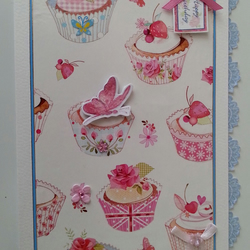 Lots of Cupcakes Lacy Edge Birthday Card