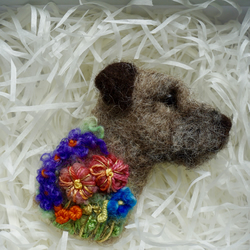 Needle Felted Border Terrier Brooch