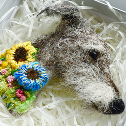 Needle Felted Lurcher Brooch