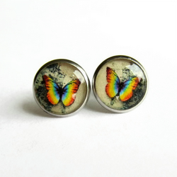 Rainbow Butterfly Resin Stud Earrings - Hypoallergenic
