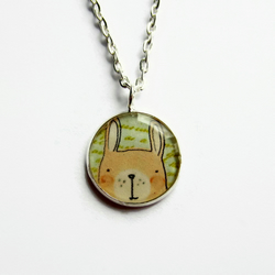 Cute Rabbit Necklace, Small Bunny Rabbit Picture Pendant, 18mm