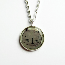 Cute Cat Necklace, Small Grey Cat  Picture Pendant, Resin Jewellery, 18mm