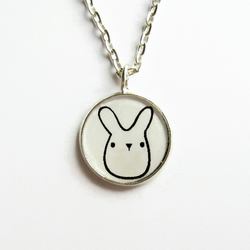 Cute Bunny Rabbit Necklace, Small Rabbit Doodle Art Picture Pendant, 18mm