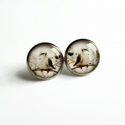 Delicate Bird Resin Stud Earrings - Hypoallergenic