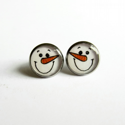 Cute Snowman Resin Stud Earrings - Hypoallergenic