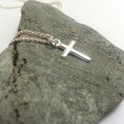 Tiny Sterling Silver Cross Pendant Necklace Small Silver Cross Necklace