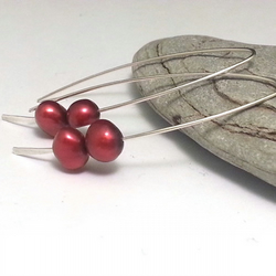 Cranberry Red Pearl Sterling Silver Earrings Long Silver Stick  Simple Modern