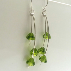 Green Flower Bouquet Sterling Silver Earrings Simple Silver Earring Silver Drop