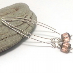 Long Fresh PInk Faceted Glass Sterling Silver Earrings Rose Drop Earrings Simple