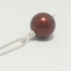 Large Single Red Pearl Pendant Sterling Silver Necklace Brides Necklace Classic
