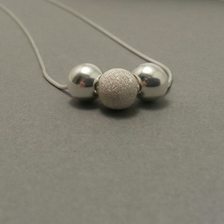 Mixed Silver Bead Necklace. Sterling Silver Stardust Necklace. Simple Silver