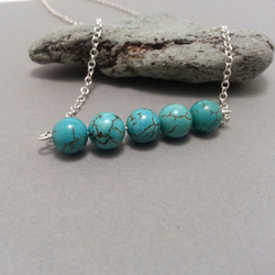 Blue Turquoise Beads in a Row Sterling Silver Necklace Simple Silver Minimalist