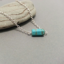 Turquoise Hexagonal Sterling Silver Necklace Single Bead Turquoise Necklace
