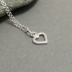 Tiny Sterling Silver Open Heart Pendant Necklace Small Silver Heart Dainty