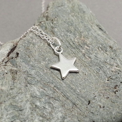 Tiny Little Star in Sterling Silver Tiny Silver Star Pendant Dainty Necklace