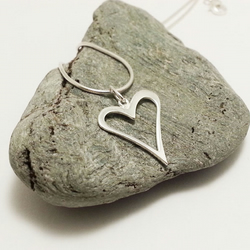 Sterling Silver Open Heart Pendant Necklace Solid Silver Heart Necklace Romantic