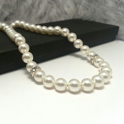 Pearl Crystal Rondelle Sterling Silver Wedding Choker Cream or White