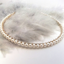 Simple Pearl Headband. Classic Pearl Tiara. Cream or White.