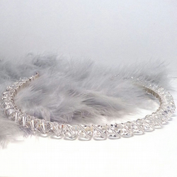 Simple Crystal Headband. Clear Crystal Tiara.
