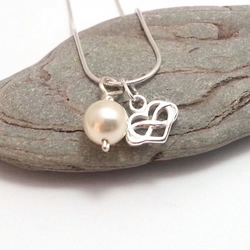 Tiny Sterling Silver Infinity Heart  Necklace with Crystal Pearl. Other colours