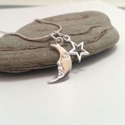 Sterling Silver Moon and Star Necklace. I Give You the Moon and Stars