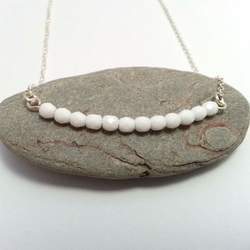 White Glass Bead Silver Necklace Dainty Sterling Silver Chain Czech Glass