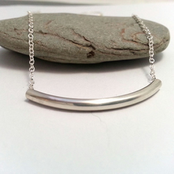 Simple Silver Tube Necklace Sterling Silver Layering Necklace Modern Silver