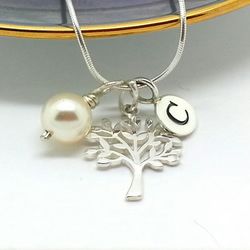 Personalised Sterling Silver Tree Necklace Silver Initial Necklace Family Tree