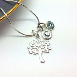 Personalised Family Tree Necklace Sterling Silver Initial Tree Sisters Gift