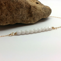 Tiny White Glass Bead Bar 14k Gold Filled Necklace Layering Choker