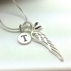 Personalised Angel Wing Necklace Sterling Silver Wing