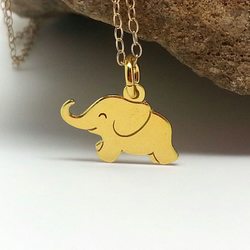 Little Gold Elephant Necklace Gold Filled Choker Happy Elephant