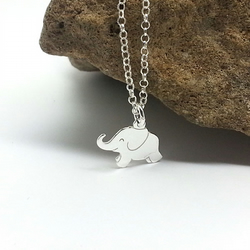 Little Silver Elephant Necklace Happy Elephant Sterling Silver