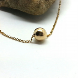 Single Gold Bead Necklace Gold Ball Choker 14k Gold Filled