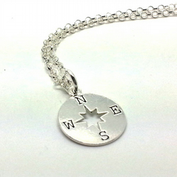 Sterling Silver Compass Necklace Leaving Gift Travelling Gift