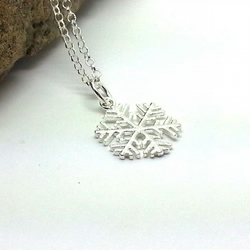 Sterling Silver Snowflake Necklace Christmas Necklace