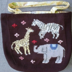 Giraffe/Zebra/Elephant Animal hand knitted cotton tote bag - special Folksy sale price