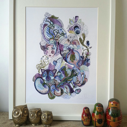 Art print, flowers, nature, owls, anatomy