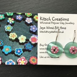 Button Earrings Dangle Earrings Layered Resin Buttons