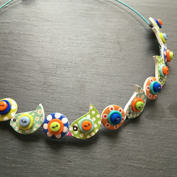 Button Necklace Blue Green and Orange Birds